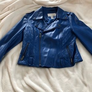 Vintage blue faux-leather jacket